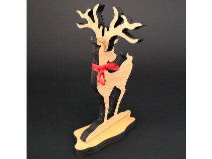 Dřevěná dekorace jelen, výška 13 cm