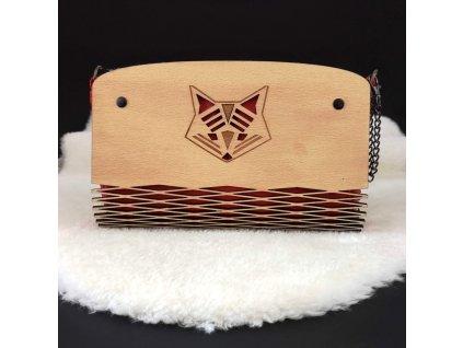Dřevěná kabelka červená - liška 25 cm