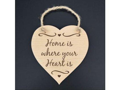 Dřevěné srdce s nápisem Home is where