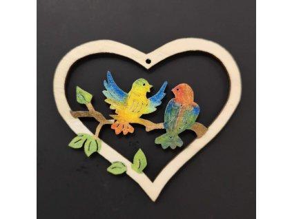 38559 Srdce ptáci 6cm, 15 Kč