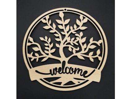 Dřevěná dekorace závěsná WELCOME k vymalování