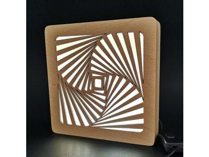Dřevěná lampička s motivem spirály, velikost 20 cm, s LED osvětlením s trafem na 12V