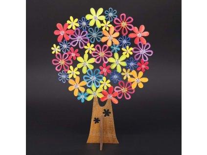 Dřevěný 3D barevný strom s květy, výška 20 cm
