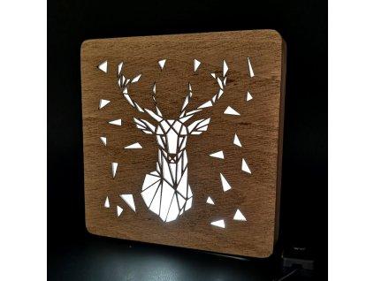 Dřevěná lampička s motivem jelena, velikost 20 cm, s LED osvětlením s trafem na 12V