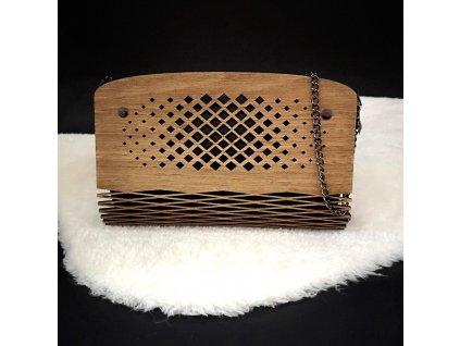 Dřevěná kabelka černá - čtverečky 25 cm