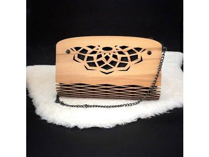 Dřevěná kabelka černá - mandala 25 cm