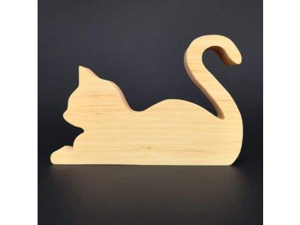 Dřevěná dekorace kočka ležící, masivní dřevo, 15x10,5x2,5 cm