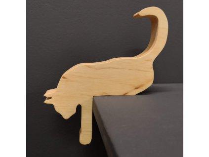 Dřevěná dekorace kočka ležící, masivní dřevo, 17,5x15x2,5