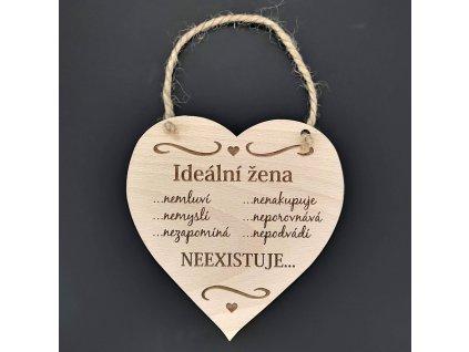 Dřevěné srdce s nápisem Ideální žena..., masivní dřevo, 16 x 15 cm