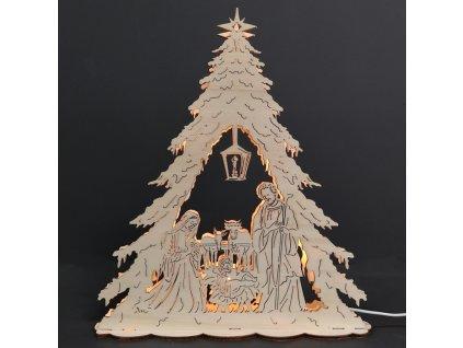 Dřevěný svítící portál betlém ve stromku, 30 cm