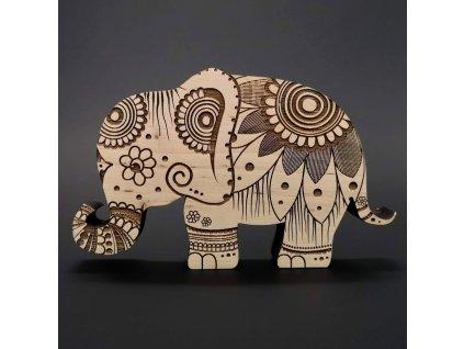 Dřevěná dekorace slon, masivní dřevo 15x9,5x1,8 cm