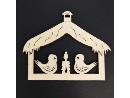 Dřevěná ozdoba ptáčci 7 cm