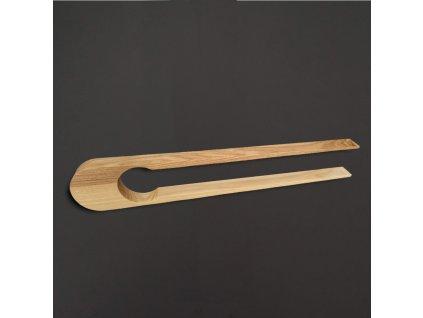 Dřevěné servírovací kleště, masivní dřevo, délka 28 cm