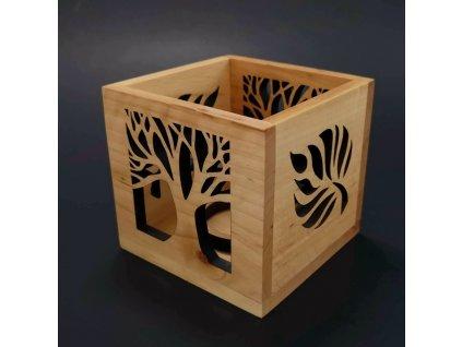 Dřevěný svícen krychle s motivem listu a stromu