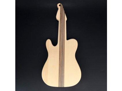 Dřevěné prkénko ve tvaru kytary, masivní dřevo, 45x20x2 cm