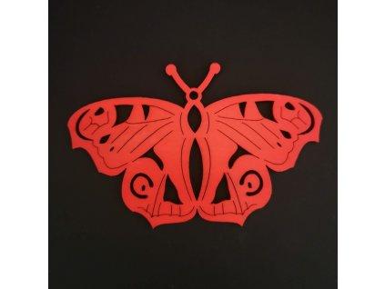 Dřevěná ozdoba motýl červený 10 cm
