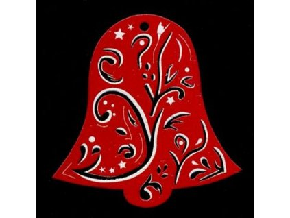 Dřevěná ozdoba červená zvonek 6 cm