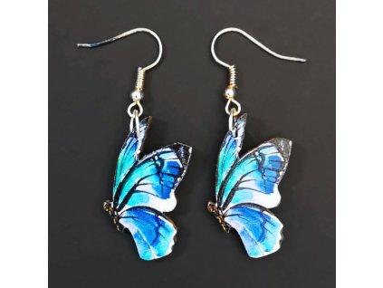 Dřevěné náušnice motýl modrý, 3 cm
