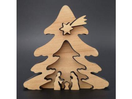 Dřevěný betlém odstupňovaný, masivní dřevo, 10x9,5x1,1 cm