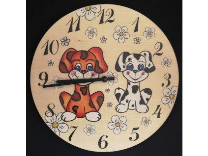 Dřevěné hodiny kulaté s motivem pejsků, masivní dřevo, průměr 25 cm