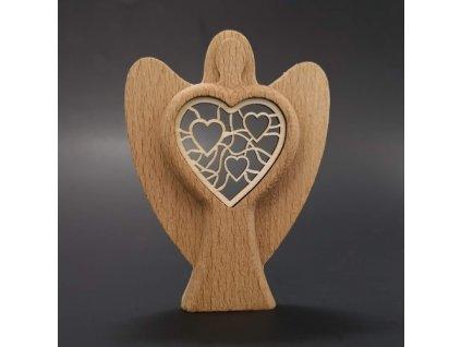 Dřevěný anděl s vkladem - srdce, masivní dřevo, výška 10 cm