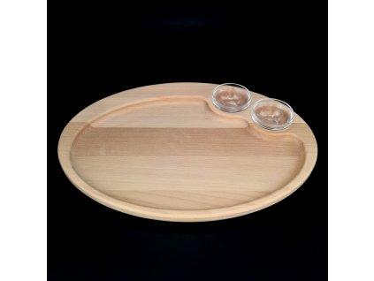 Dřevěný podnos s miskami oválný, masivní dřevo, rozměr: 35x25x2 cm