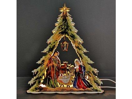 Dřevěný svítící betlém strom