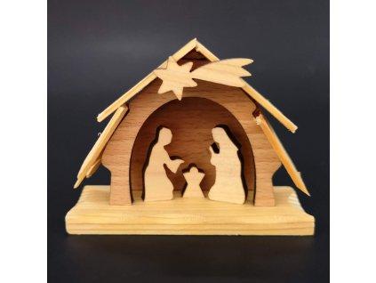 Dřevěný betlém, masivní dřevo dvou druhů dřevin, 7x 6x3 cm
