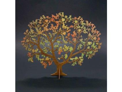 Dřevěný 3D strom v podzimních barvách , šířka 24 cm, tl. 3mm