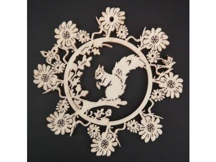 Dřevěná ozdoba květina s veverkou 9 cm