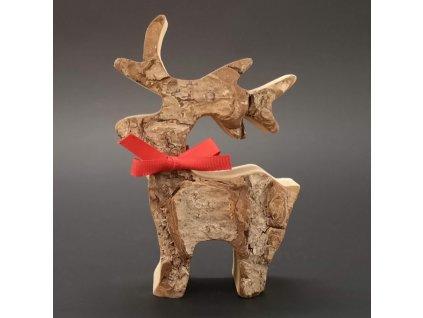 Dřevěný jelen s kůrou, masivní dřevo, výška 11 cm