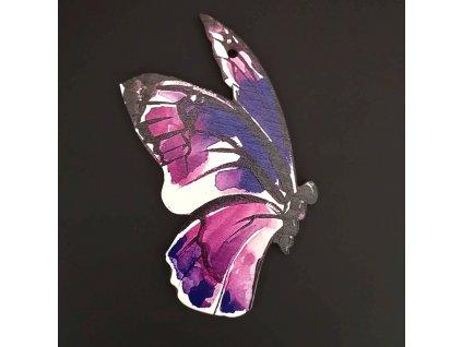 Dřevěná dekorace motýl fialový 9cm