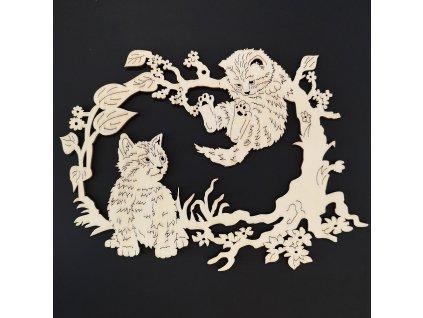 Dřevěná dekorace závěsná kočky k vymalování