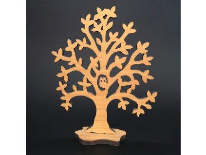 Dřevěný 3D strom se sovou, masivní dřevo, výška 20 cm