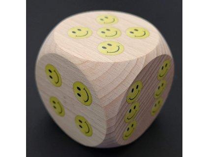 Dřevěná kostka se smajlíky 5 cm