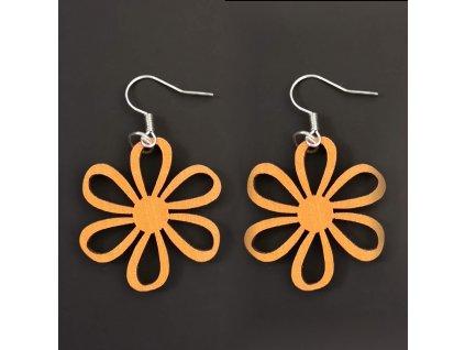 Dřevěné náušnice květina oranžová, 3 cm