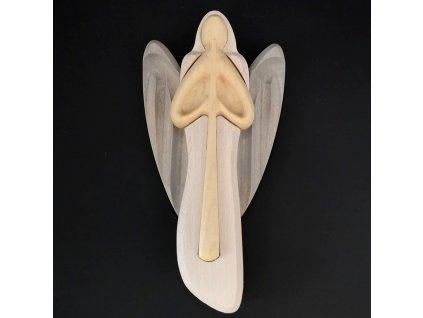 Dřevěný anděl s flétnou, barevný, masivní dřevo, 22x12x2 cm