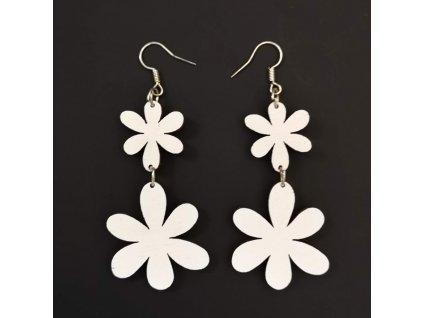 Dřevěné náušnice květiny bílé, 5 cm