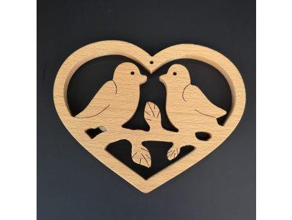 Dřevěné srdce s ptáčky, masivní dřevo, 14x11x1,5 cm