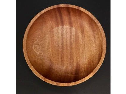 Dřevěná miska kulatá, masivní dřevo mahagon, 20x4,5 cm