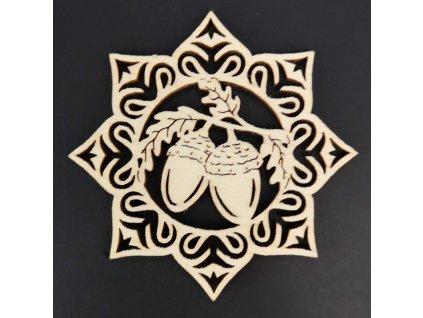 Dřevěná ozdoba hvězda se žaludy 6 cm
