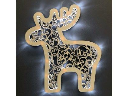 Dřevěná svítící dekorace sob s LED osvětlením