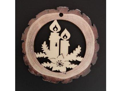 Dřevěná ozdoba s potiskem kůry - koule se svíčkami 6 cm