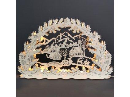 Dřevěný svítící portál vesnička, 53x21x10 cm