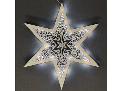 Dřevěná svítící dekorace hvězda s LED osvětlením