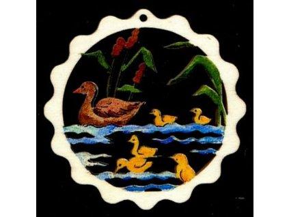 Dřevěná ozdoba barevná vlnka s kachnami 6 cm