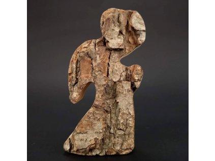 Dřevěný anděl s kůrou, masivní dřevo, 11x6x3,5 cm