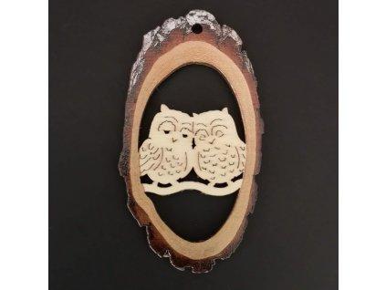 Dřevěná ozdoba s potiskem kůry - ovál se sovami 6 cm