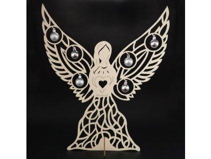 Dřevěný 3D anděl s kuličkami, 48x40 cm
