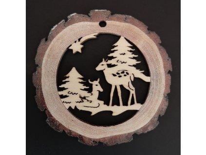 Dřevěná ozdoba s potiskem kůry - koule se srnkami 6 cm